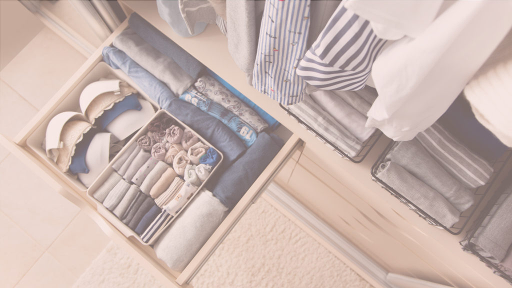organized drawer of clothes