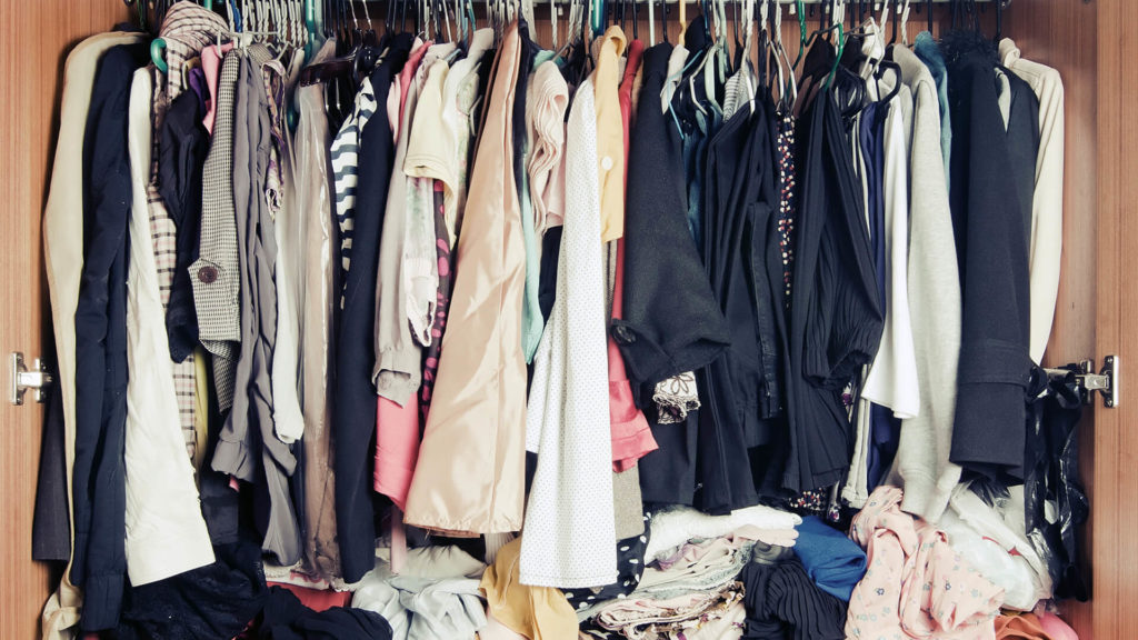 closet full of used clothes